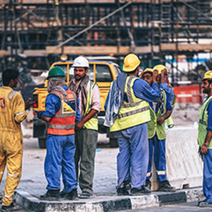 Site safety construction workers working together